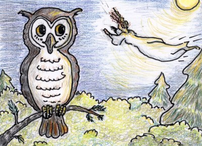 Delfine and the owl. An illustration from Delfine the Dream Girl.